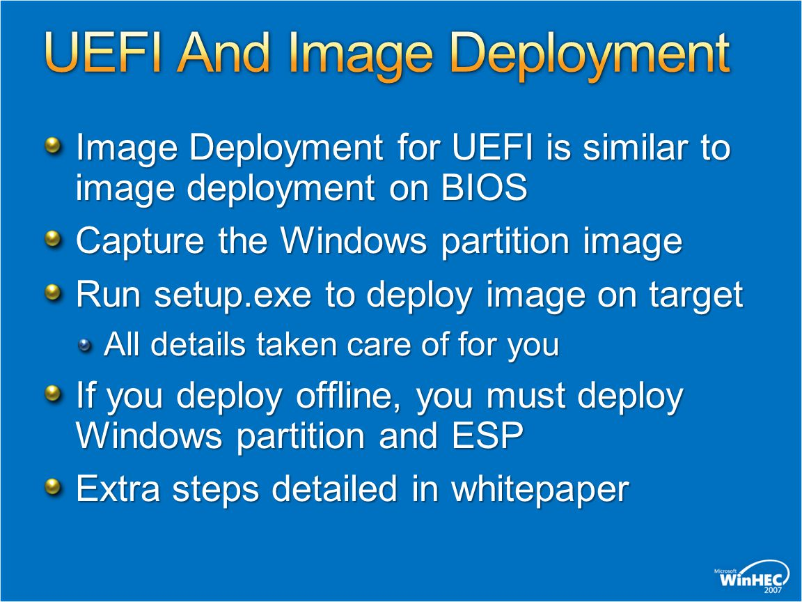 UEFI And Image Deployment