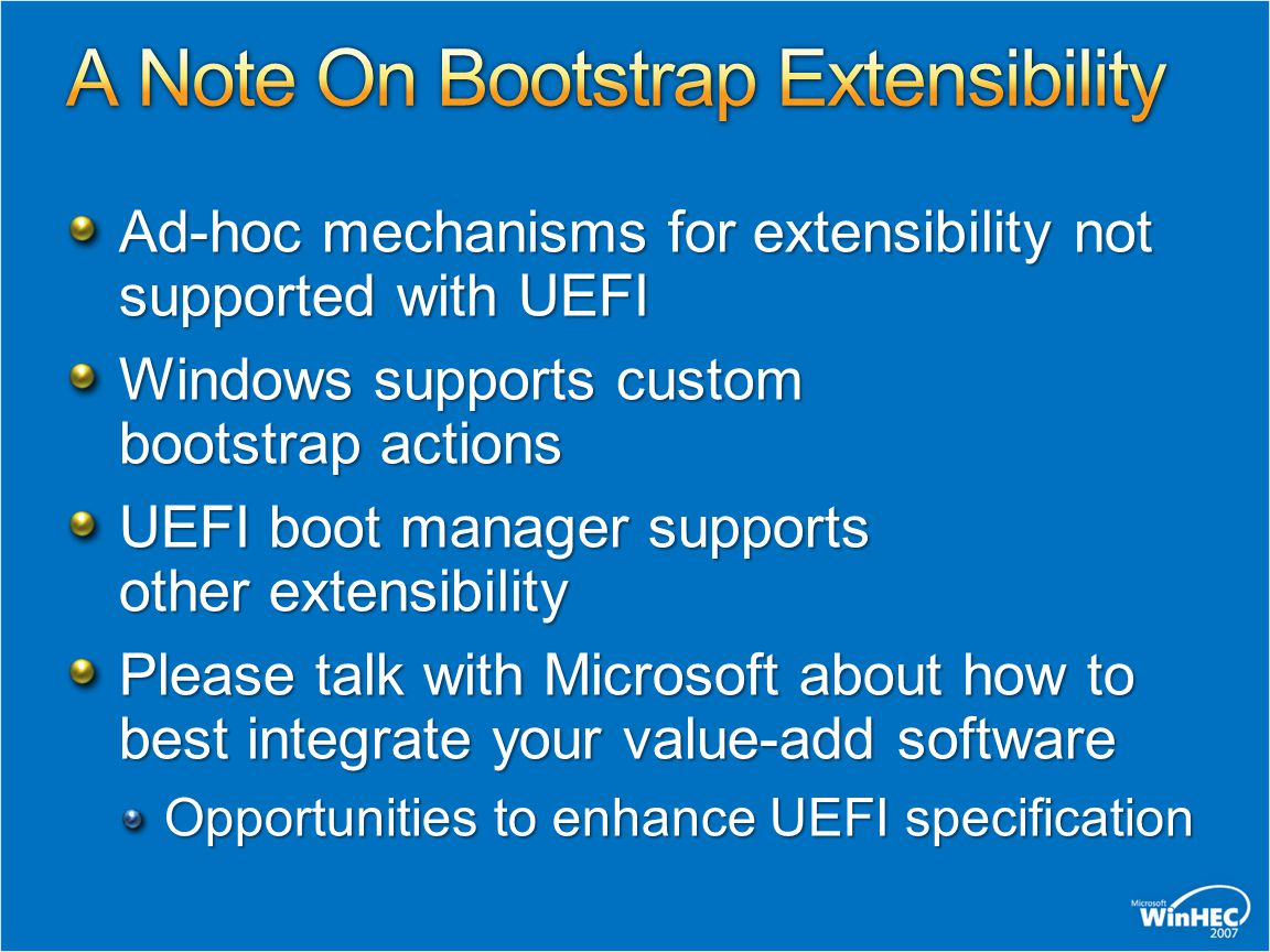 A Note On Bootstrap Extensibility