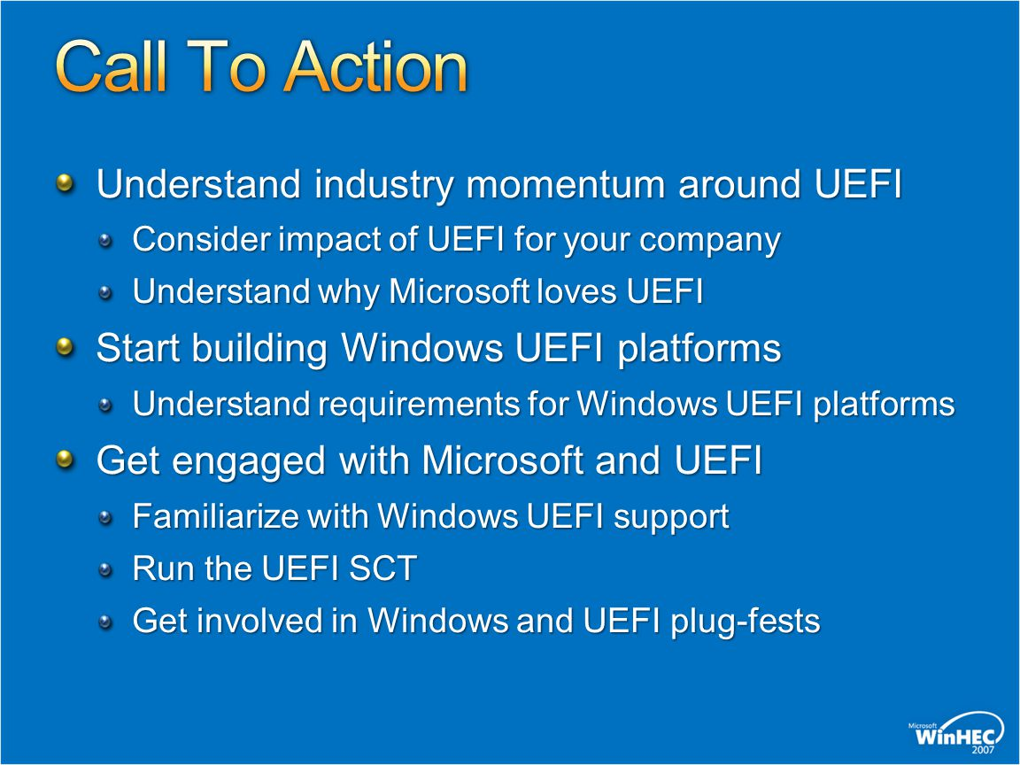 Call To Action Understand industry momentum around UEFI