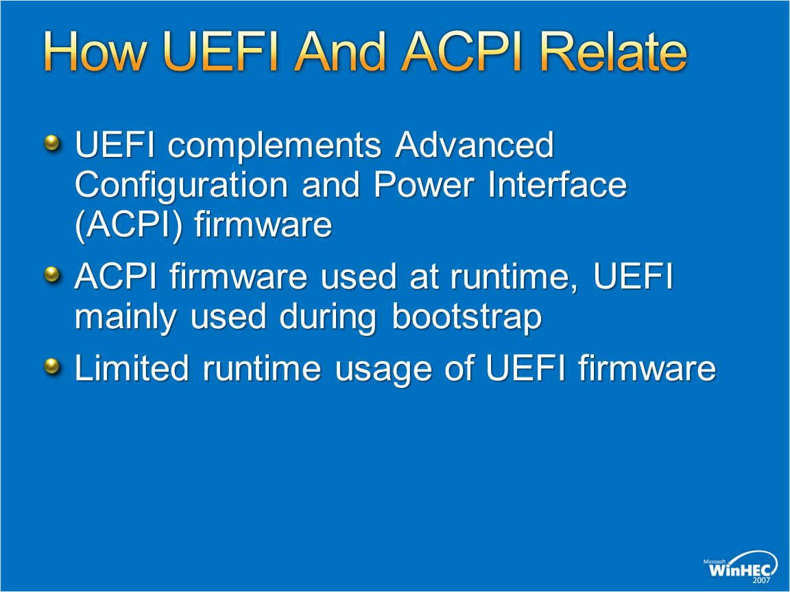 How UEFI And ACPI Relate