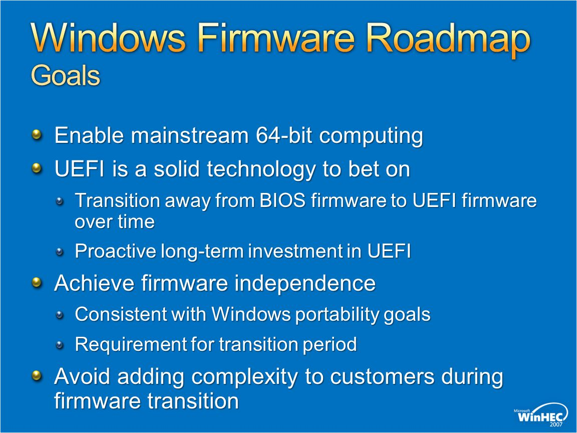 Windows Firmware Roadmap Goals