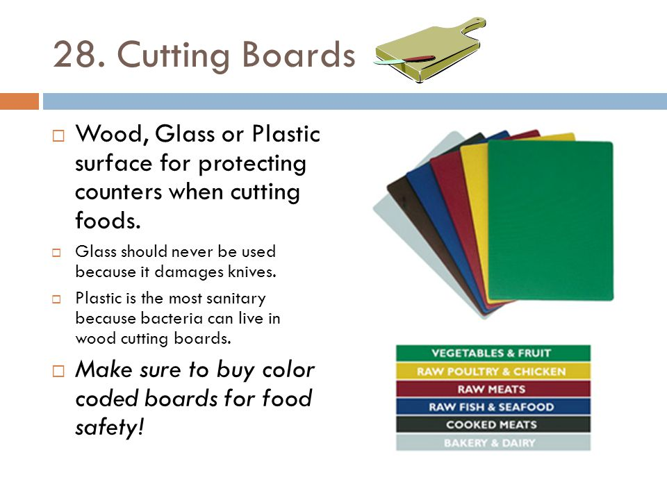28. Cutting Boards Wood, Glass or Plastic surface for protecting counters when cutting foods.