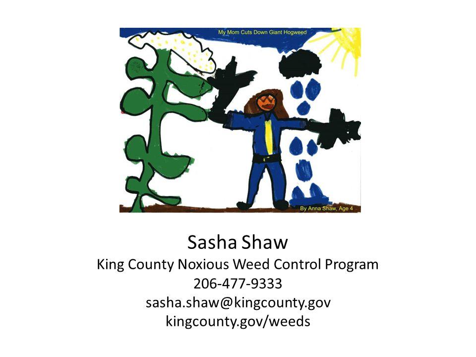 Sasha Shaw King County Noxious Weed Control Program 206-477-9333 sasha