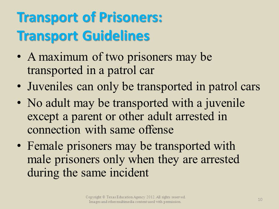 Transport of Prisoners: Transport Guidelines