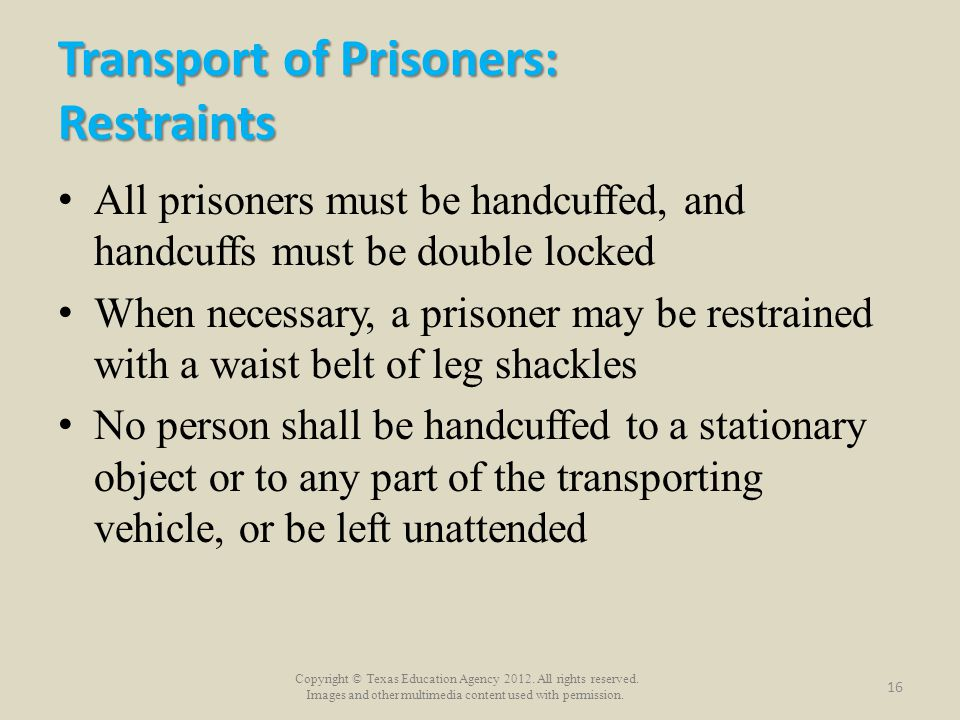 Transport of Prisoners: Restraints