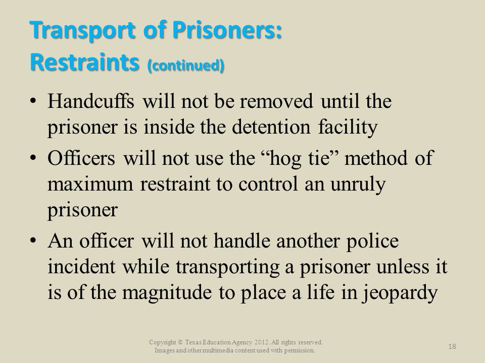 Transport of Prisoners: Restraints (continued)