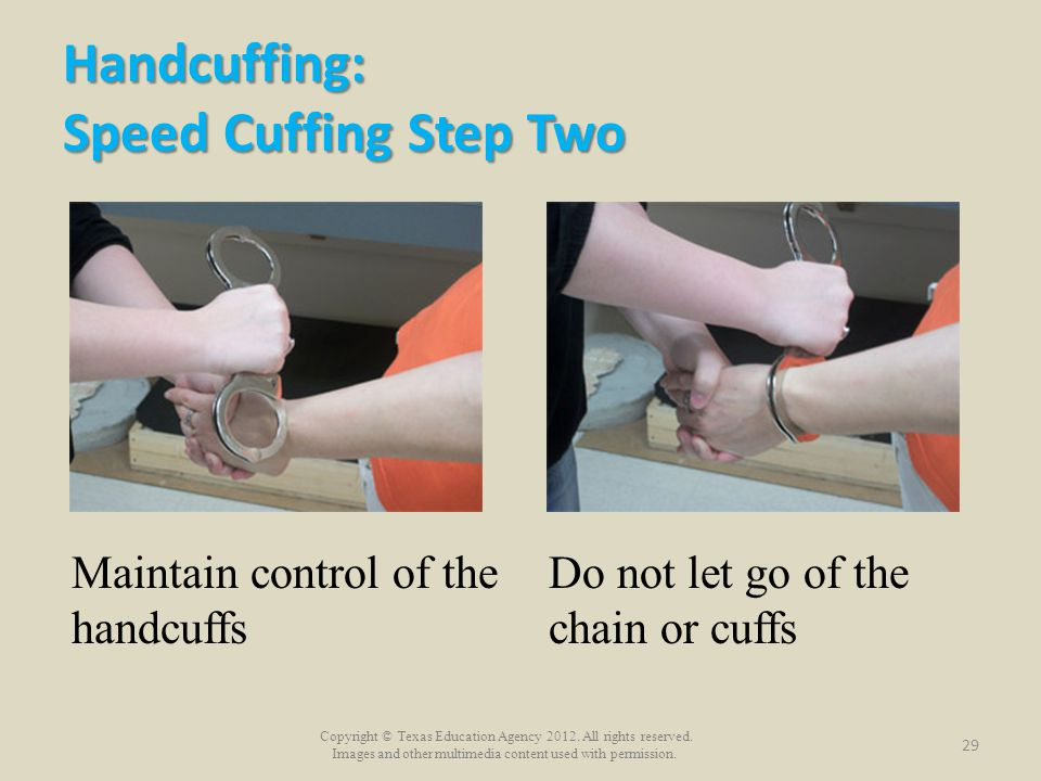 Handcuffing: Speed Cuffing Step Two