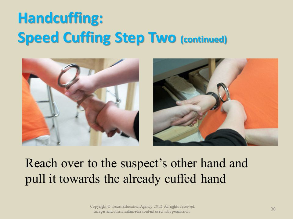 Handcuffing: Speed Cuffing Step Two (continued)