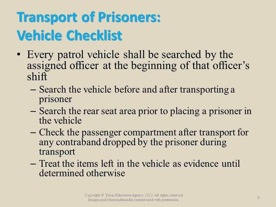 Transport of Prisoners: Vehicle Checklist