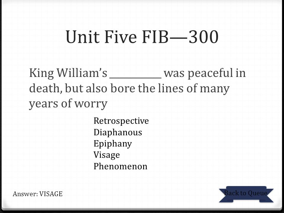 Unit Five FIB—300 King William's ___________ was peaceful in death, but also bore the lines of many years of worry.