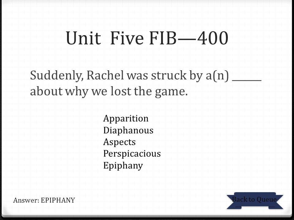 Unit Five FIB—400 Suddenly, Rachel was struck by a(n) ______ about why we lost the game. Apparition.