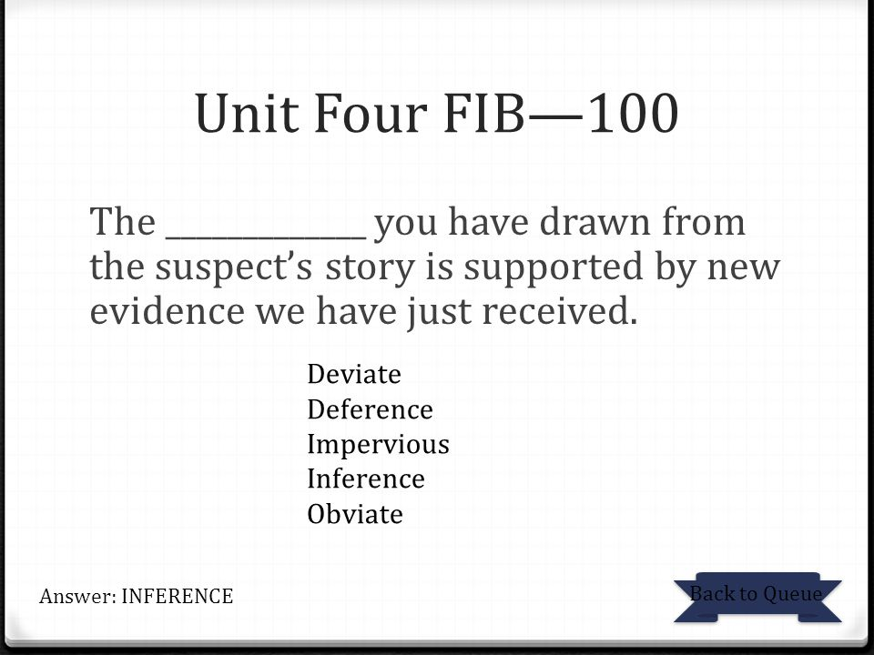 Unit Four FIB—100 The _____________ you have drawn from the suspect's story is supported by new evidence we have just received.