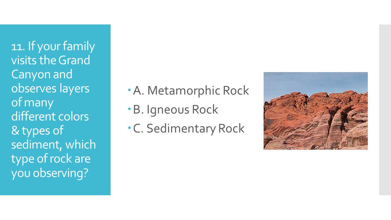 A. Metamorphic Rock B. Igneous Rock. C. Sedimentary Rock.