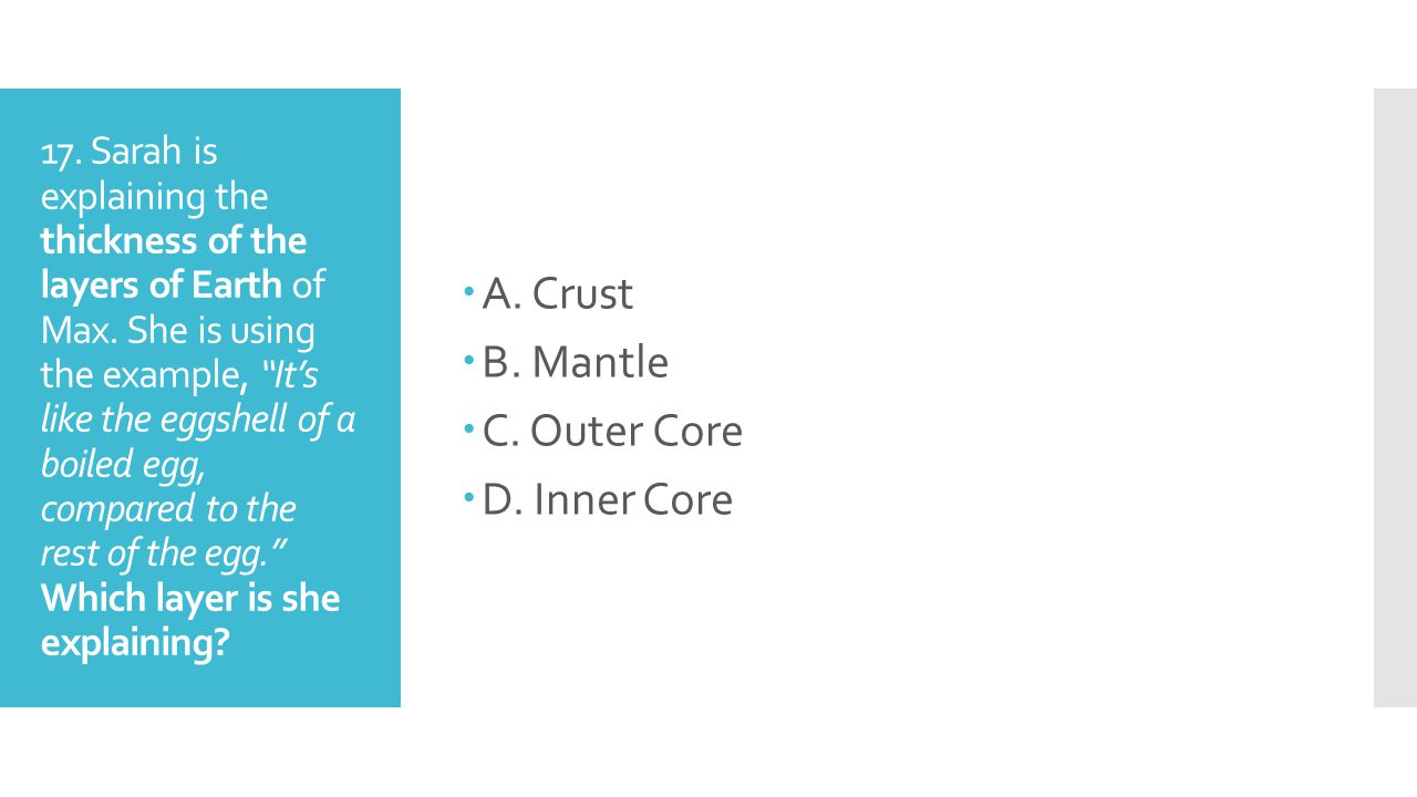 A. Crust B. Mantle C. Outer Core D. Inner Core