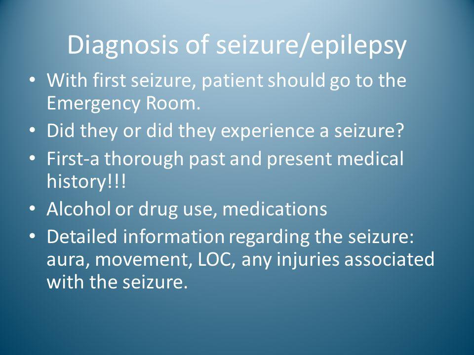 Diagnosis of seizure/epilepsy