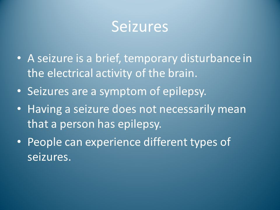 Seizures A seizure is a brief, temporary disturbance in the electrical activity of the brain. Seizures are a symptom of epilepsy.