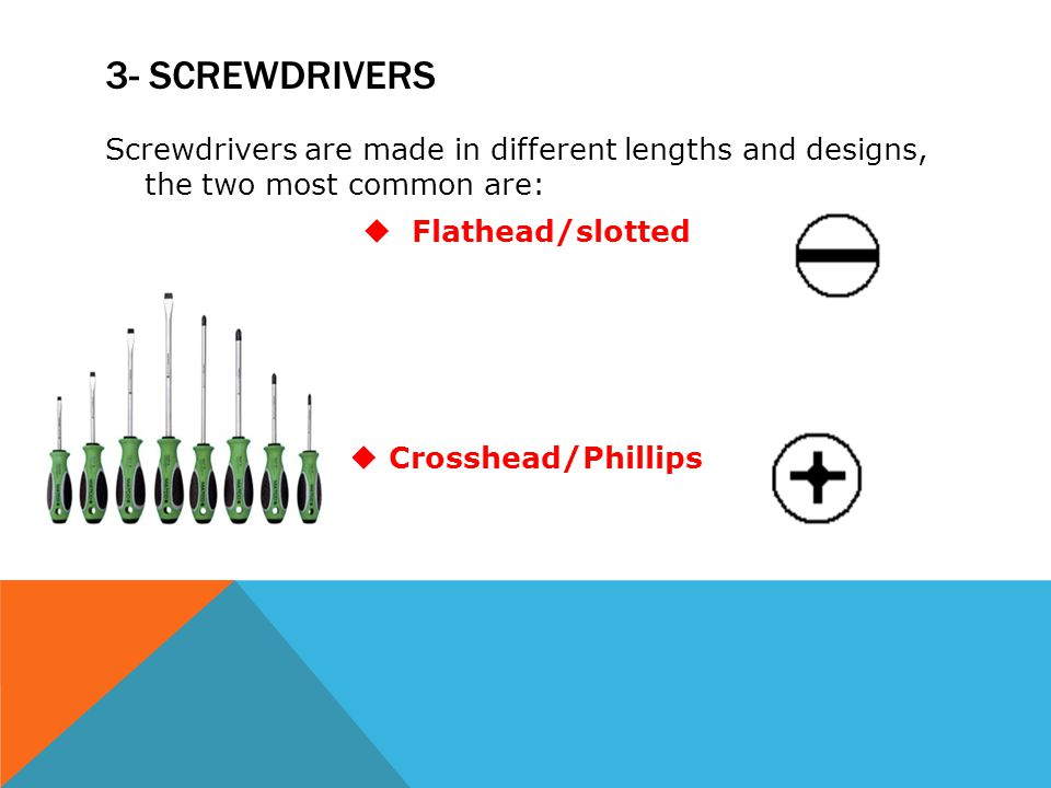 3- screwdrivers Screwdrivers are made in different lengths and designs, the two most common are: Flathead/slotted.
