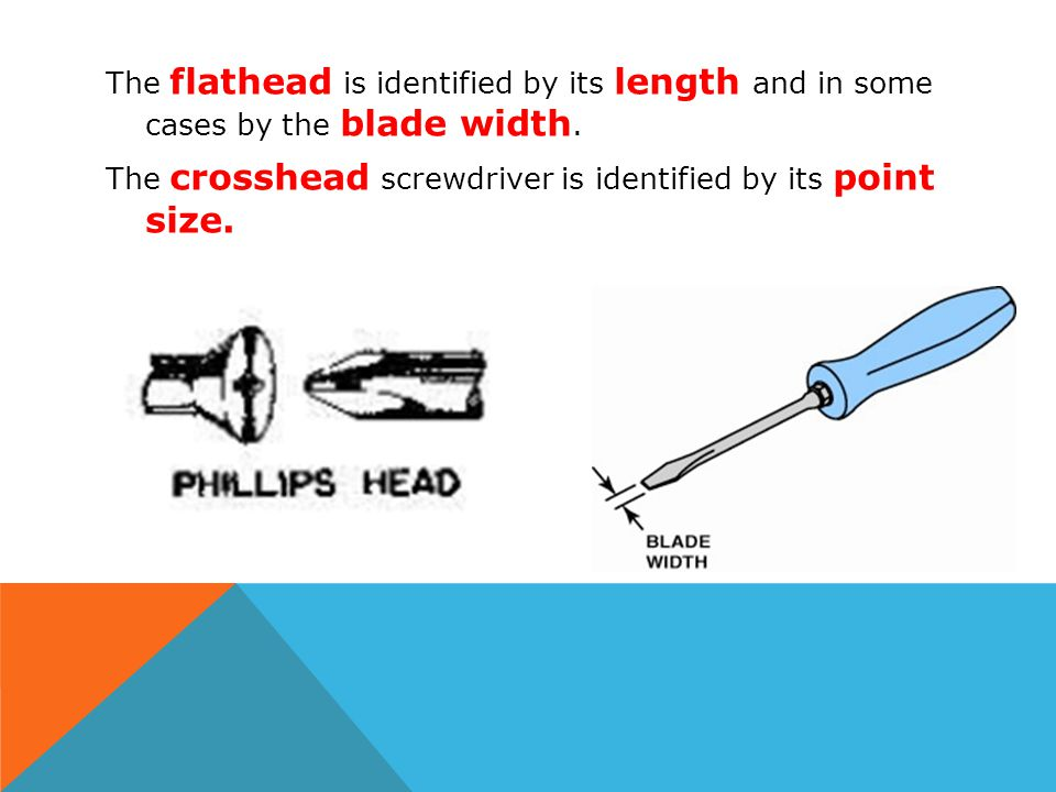 The flathead is identified by its length and in some cases by the blade width.