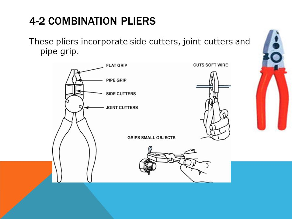 4-2 combination pliers These pliers incorporate side cutters, joint cutters and pipe grip.