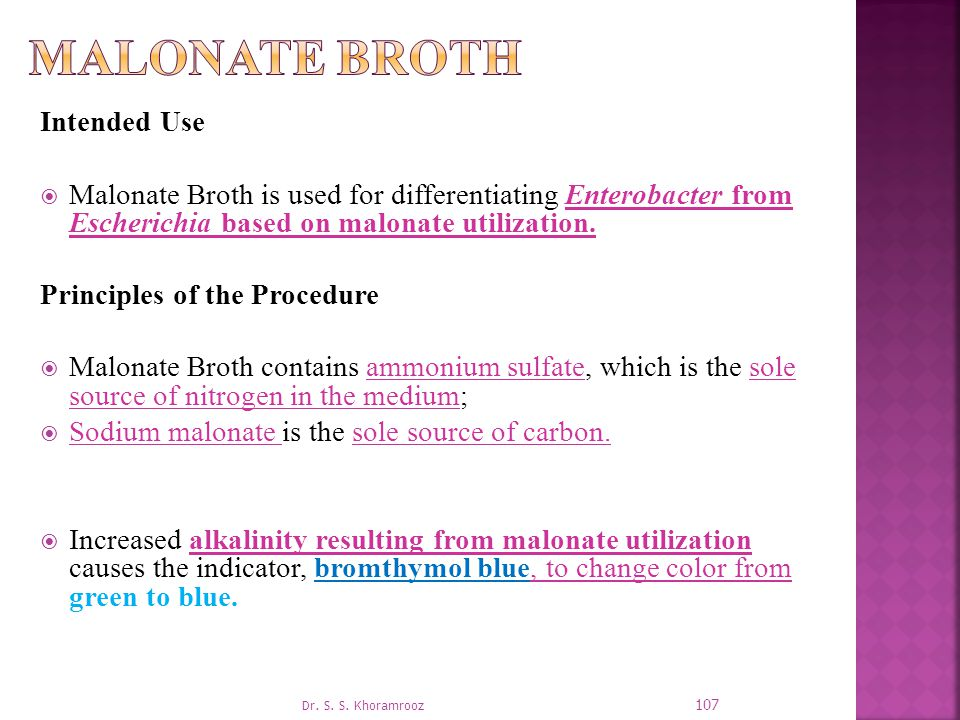 Malonate Broth Intended Use