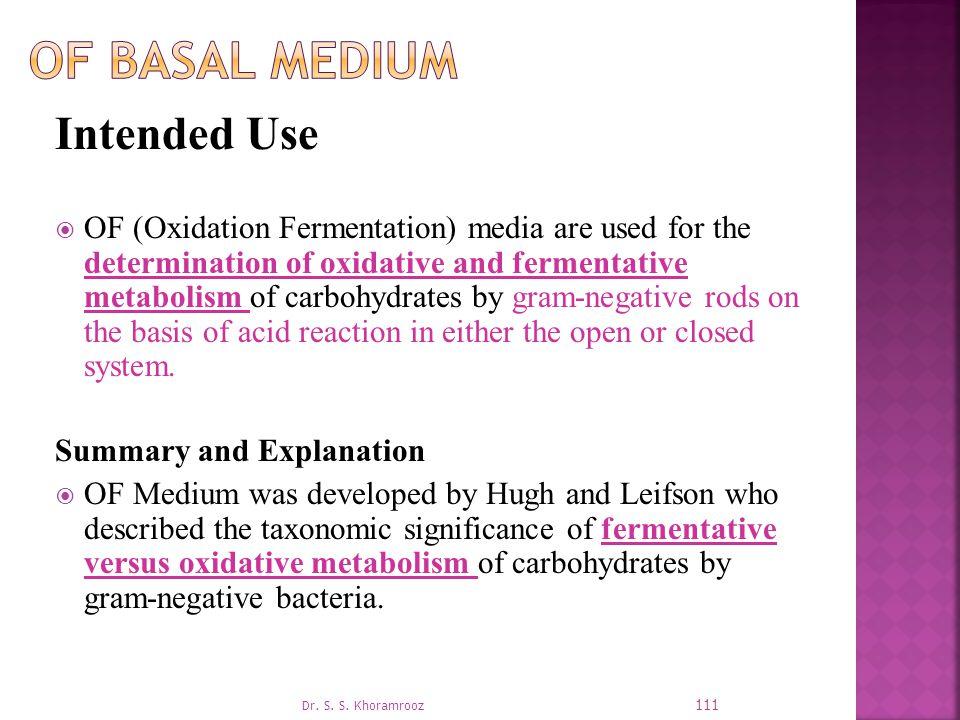 OF Basal Medium Intended Use
