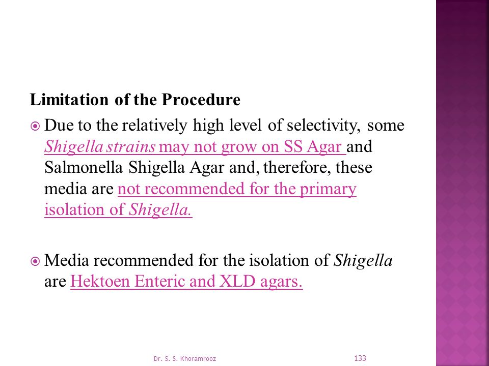 Limitation of the Procedure
