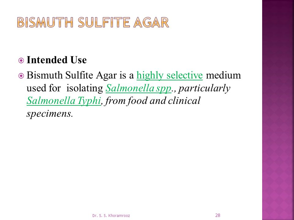 Bismuth Sulfite Agar Intended Use