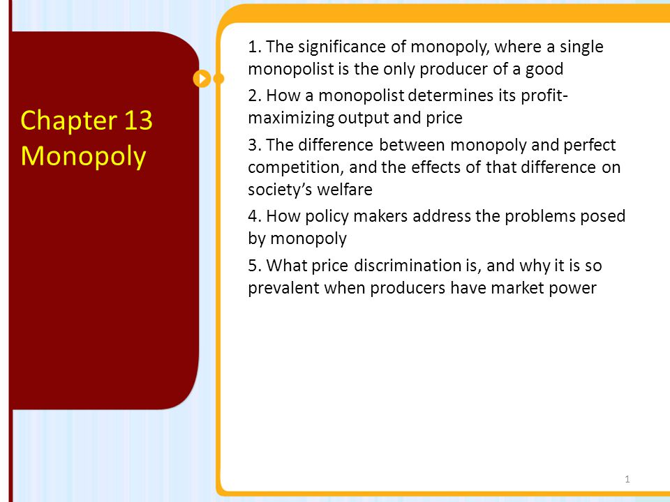 1. The significance of monopoly, where a single monopolist is the only producer of a good