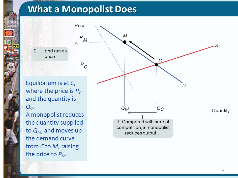 1. Compared with perfect competition, a monopolist reduces output…