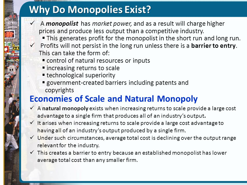 Why Do Monopolies Exist