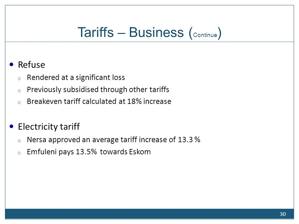 Tariffs – Residential Restructuring of tariffs proposed - Water