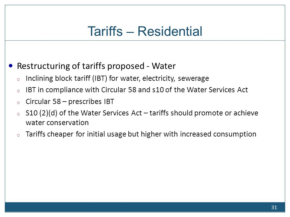 Tariffs – Residential Restructuring of tariffs proposed - Sewerage