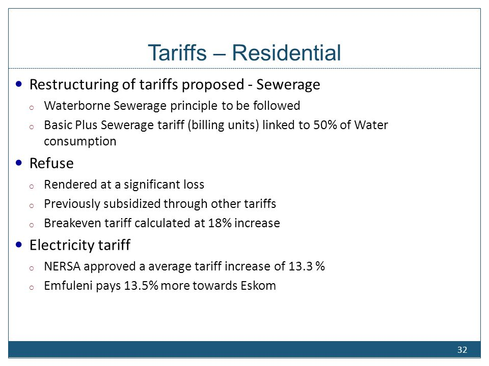 Tariff Structure - Residential