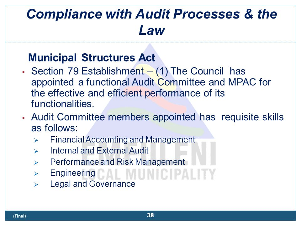 Compliance with Audit Processes & the Law (Cont)