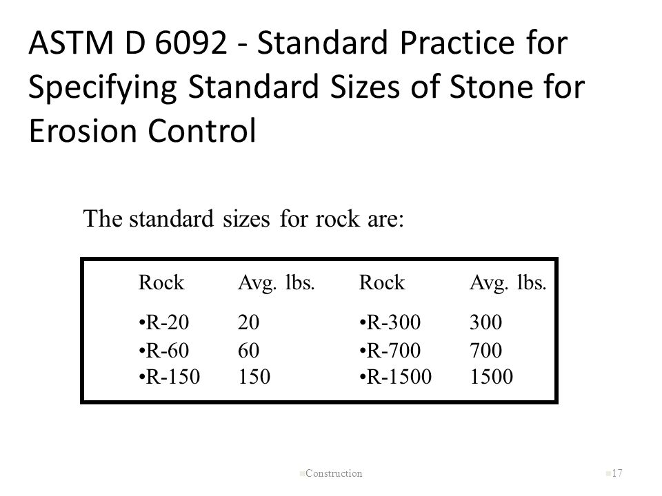 ASTM D 6092 - Standard Practice for Specifying Standard Sizes of Stone for Erosion Control