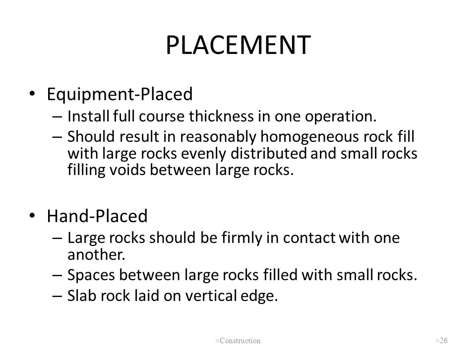 PLACEMENT Equipment-Placed Hand-Placed