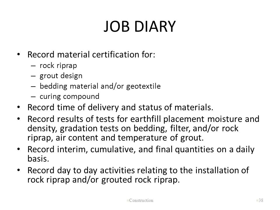JOB DIARY Record material certification for: