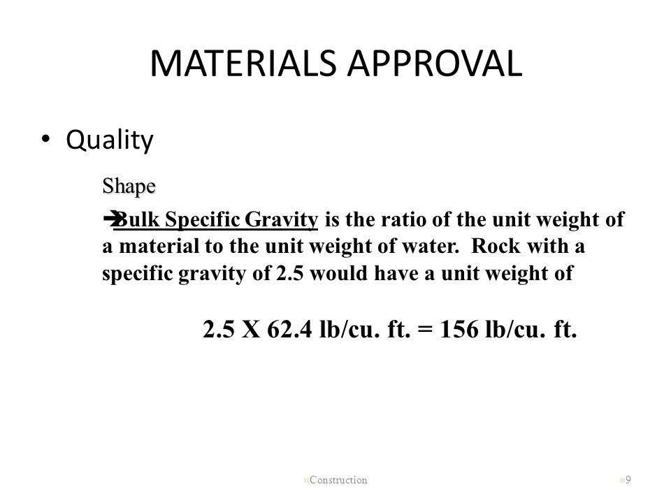 MATERIALS APPROVAL Quality 2.5 X 62.4 lb/cu. ft. = 156 lb/cu. ft.