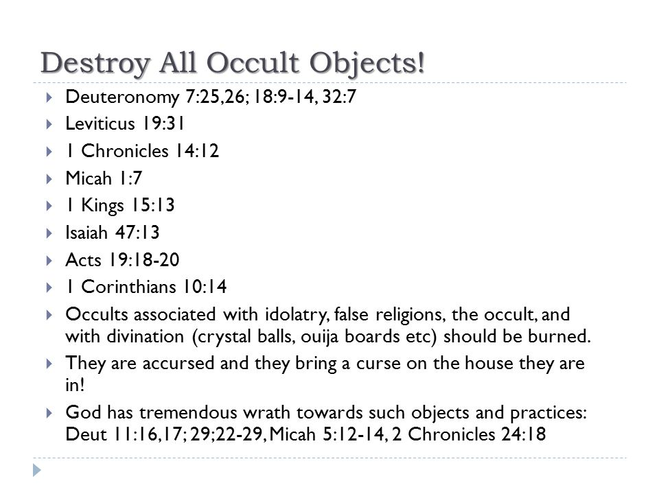 Destroy All Occult Objects!