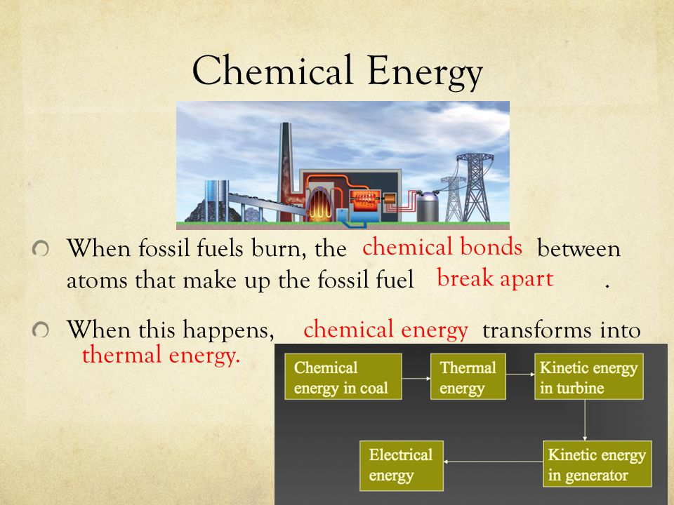 Chemical Energy When fossil fuels burn, the between atoms that make up the fossil fuel .