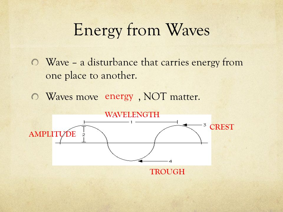 Energy from Waves Wave – a disturbance that carries energy from one place to another. Waves move , NOT matter.