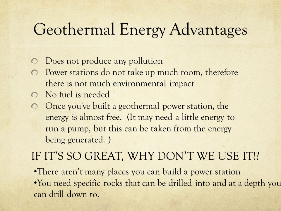 Geothermal Energy Advantages