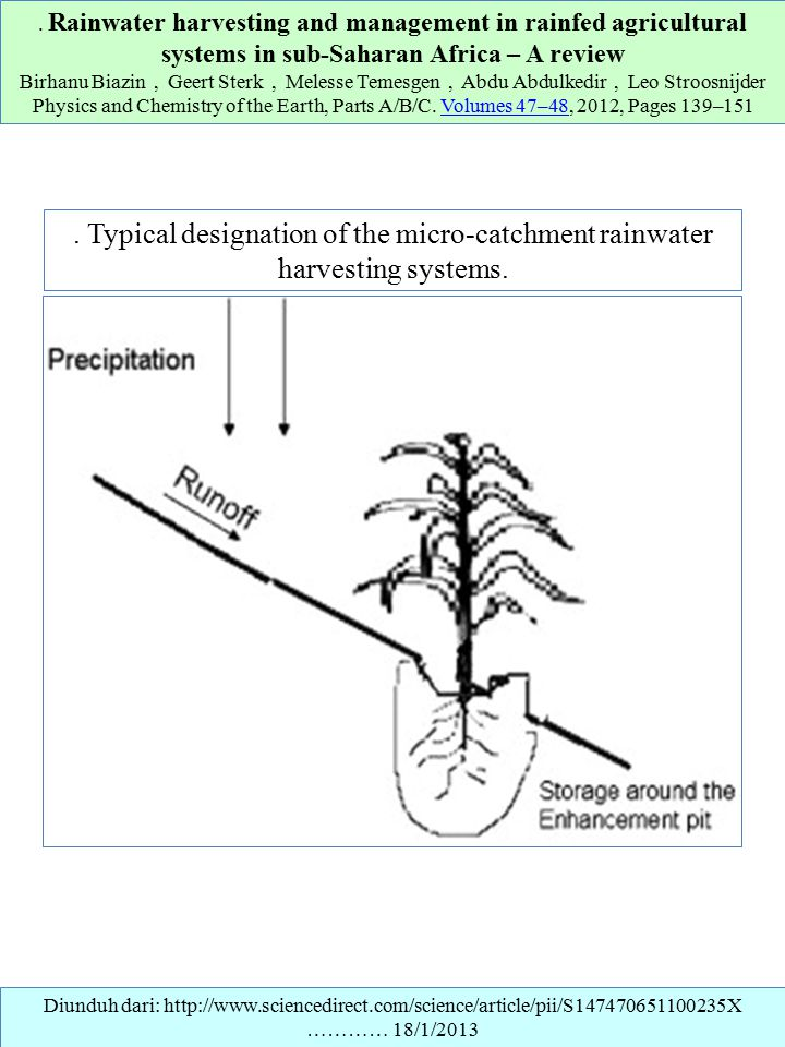 . Rainwater harvesting and management in rainfed agricultural systems in sub-Saharan Africa – A review