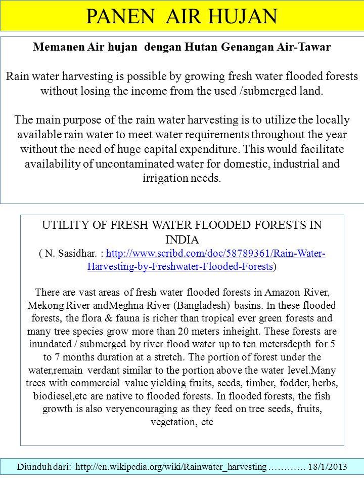 Memanen Air hujan dengan Hutan Genangan Air-Tawar