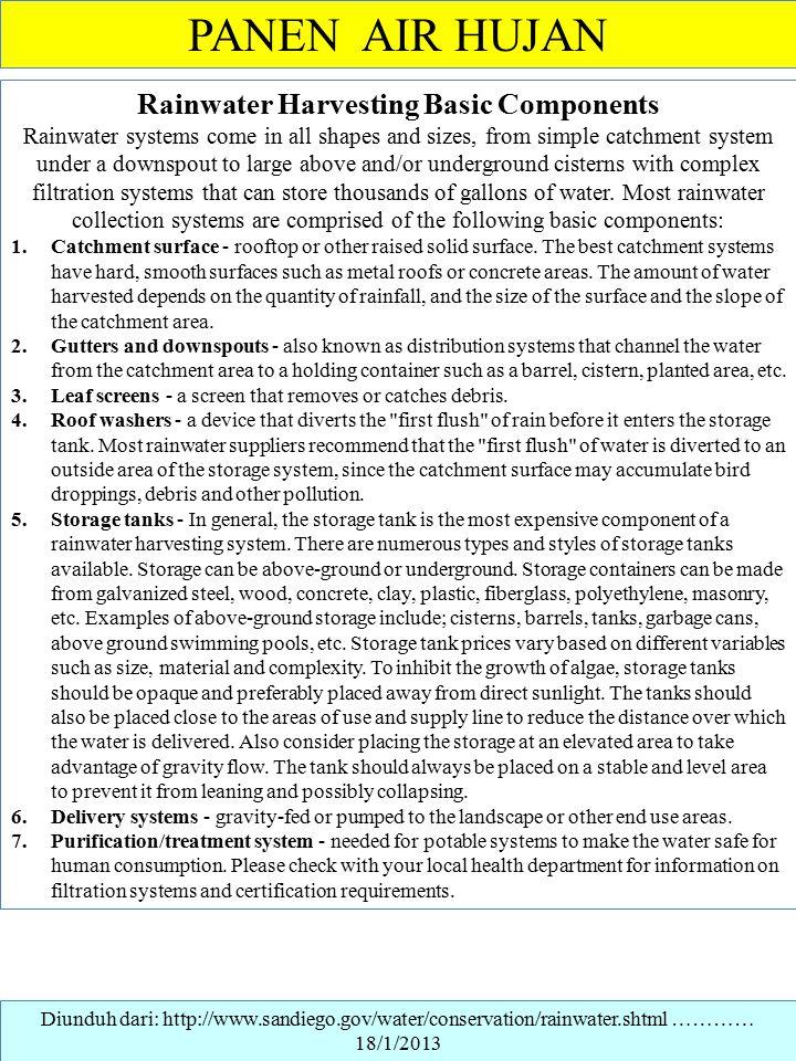 Rainwater Harvesting Basic Components