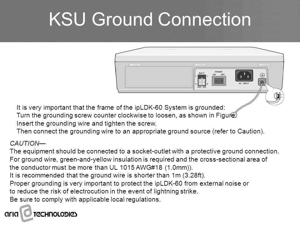 KSU Ground Connection It is very important that the frame of the ipLDK-60 System is grounded:
