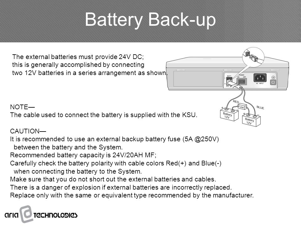 Battery Back-up The external batteries must provide 24V DC;
