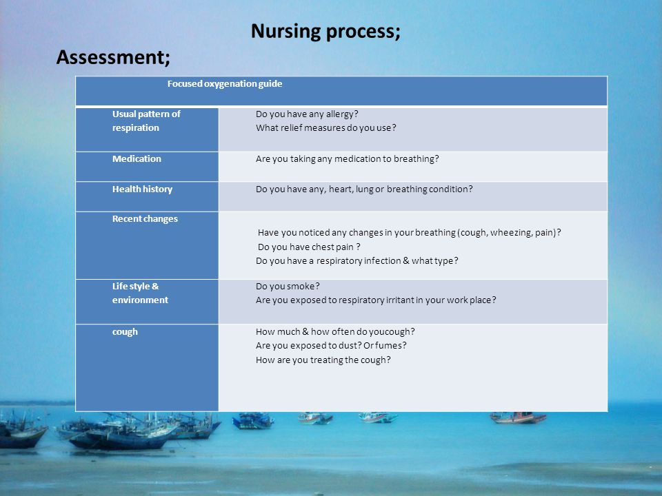 Nursing process; Assessment; Focused oxygenation guide