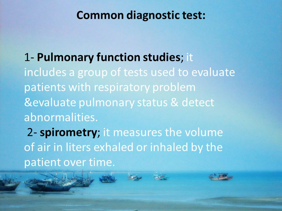 Common diagnostic test: