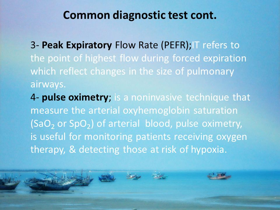 Common diagnostic test cont.